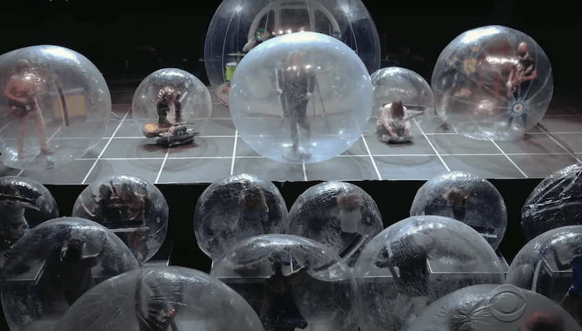 Watch The Flaming Lips Perform in Inflatable Bubbles on Colbert